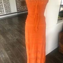 Bcbg Maxazria Boho Cascade Silk Strapless Dress Gown Melon Orange Size 4 Photo