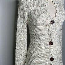 Bcbg Maxazria Cardigan Sweater-Ruffled Edges-Brown Multi-Color-Size Small Photo