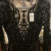 Bcbg Maxazria Colleen Baroque Peplum Top Sheer Velvet Black Nude Sz Xs 150 Photo