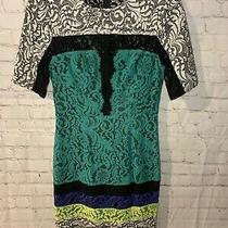 Bcbg Maxazria Dress 4 Lace Beautiful Black Green White Blue Photo