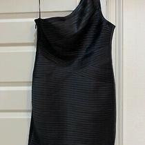 Bcbg Maxazria Dress Black One Shoulder Size 12 Euc Bcbgmaxazria Photo