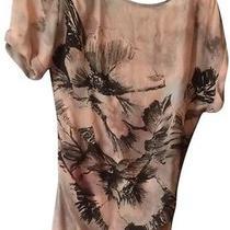 Bcbg Maxazria Dress Ingrid Peach Watercolor 100% Silk Zipper Slit Sexy 89 Photo