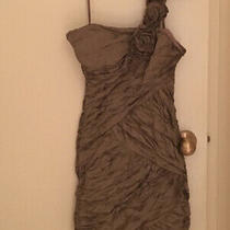 Bcbg Maxazria Dress Nwt - One Shoulder Gold Ruffle Photo