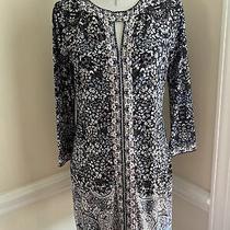 Bcbg Maxazria Dress S Small 3/4 Sleeve Blue Purple Floral Print Stretch Photo