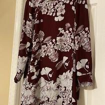 Bcbg Maxazria Dress Size Xs Deep Burgundy Long Sleeve Floral Photo