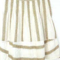 Bcbg Maxazria Full Skirt Size 4 Cotton Silk White Gold Eyelet Embroidery Lined Photo
