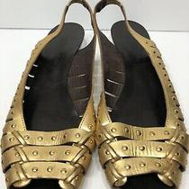 Bcbg Maxazria Gold Leather Roman Gladiator Slingback Wedge Peeptoe Sandals 8.5 B Photo