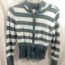 Bcbg Maxazria Gray and White Size M Striped Front Zippered Stretch Sweater Photo