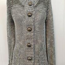 Bcbg Maxazria Gray White Heather Button Front Sweater Pewter Tone Beading Sz L Photo