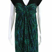 Bcbg Maxazria Green/black/blue v-Neck Short-Sleeve Cocktail Dress Sz S Photo