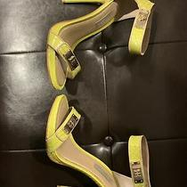 Bcbg Maxazria Heels Stiletto 6.5 Yellow Snakeskin Gold Ankle Buckle Photo