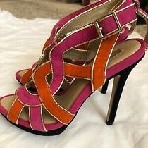 Bcbg Maxazria Hot Pink & Orange Open Toe Strappy Heels Size 6.5 Photo