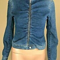 Bcbg Maxazria Jeans Dark Blue Denim Women's Jacket Jean Coat Biker Xs Photo