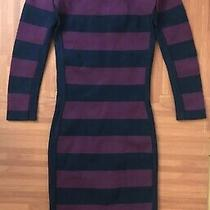 Bcbg Maxazria Kendall Long Sleeve Bodycon Dress Size Xxs Purple Blue Striped Photo