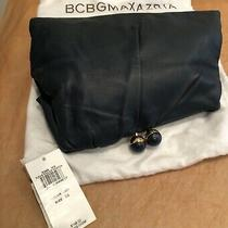 Bcbg Maxazria Kiss Lock Leather Clutch Navy Gold Tone/navy Lock Photo