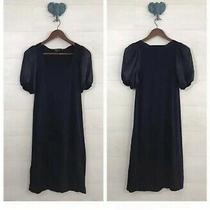 Bcbg Maxazria Knit Sweater Dress Black Flare Silk Short Sleeve Career Size M Photo