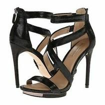 Bcbg Maxazria Leemour Black Leather Platform Strappy Heels Sz 8.5 Photo