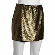 Bcbg Maxazria New Skirt Catrine  Sz M Gold Combo/bronze Sequin Mini 268 Photo
