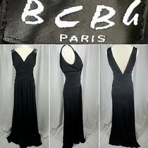 Bcbg Maxazria Paris Womens Black Sleeveless Sequin Shoulder Evening Dress Gown S Photo