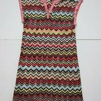 Bcbg Maxazria Pink Brown Blue Silk Knit Chevron Stretch Sweater Dress Women S-M Photo