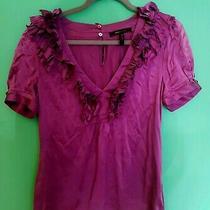 Bcbg Maxazria Purple Silk Top Shirt Short Sleeve Ruffles Size M 12 Photo