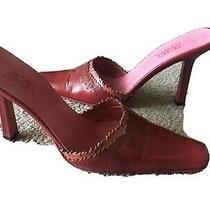Bcbg Maxazria Red Leather Pointy Toe Slides Mules Heels Size  5.5 Photo