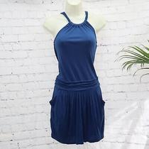 Bcbg Maxazria Royal Blue Slouchy Sleeveless Necklace Halter Dress Xs Photo