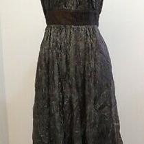 Bcbg Maxazria Ruffle Relax Fit Dress Size 8 Brown Metalic Photo