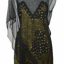 Bcbg Maxazria Runway Black Yellow Eyelet Overlay Sleeveless Dress Size S Photo