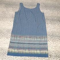 Bcbg Maxazria Scarf Printed Shift Dress Size Large Blue Sleeveless Above Knee Photo