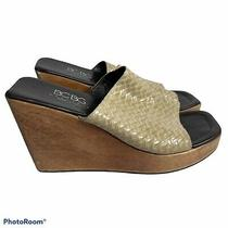 Bcbg Maxazria Shoes Wedge Heels Sandals Mules Size 8 Woven Leather Wood Heel A15 Photo