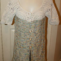 Bcbg Maxazria Short Sleeve Long Sweater Medium Off White Crochet Top Multi Knit Photo