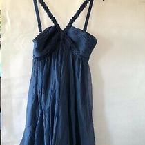 Bcbg Maxazria Size 0 Blue 100% Silk Beaded Short/mini Empire Dress Pre-Owned Photo