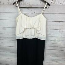 Bcbg Maxazria Size 6 Silk Dress Cream Black Pleated Ruffle Strapless  Photo