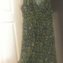 Bcbg Maxazria Size M Green Blue Sleeveless Detailed Trim Flare Bottom Dress R2 Photo