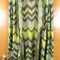 Bcbg Maxazria Size M Green Chevron Striped Mohair Blend Open Cardigan Sweater Photo