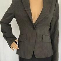 Bcbg Maxazria Size Small Women's Pinstriped Gray Blazer Jacket Fully Lined Photo