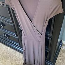 Bcbg Maxazria Small Faux Wrap Dress Stretch Brown v-Neck Short Sleeves Photo