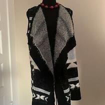 Bcbg Maxazria Soft Black and White Wool Cardigan Vest Nwt 240 Size M Photo