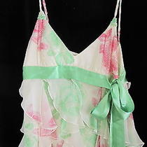 Bcbg Maxazria Spaghetti Strap Ruffles Top Small Green Sash 100% Silk Gently Worn Photo