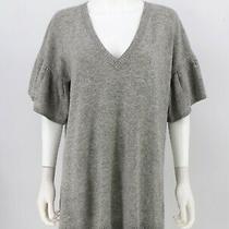 Bcbg Maxazria Sweater Medium Gray 100% Lambs Wool Flare Sleeve v-Neck Womens Photo
