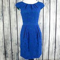 Bcbg Maxazria Sz 2 Larkspur Blue Lace Green Lining Rory Dress Pockets (H12) Photo