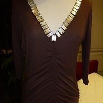 Bcbg Maxazria Top Shirt in Brown Small Mother of Pearls Around the Neck Photo