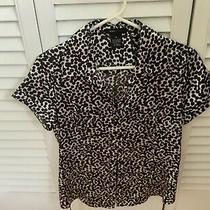 Bcbg Maxazria White & Black Print Front Button Blouse Size M Photo