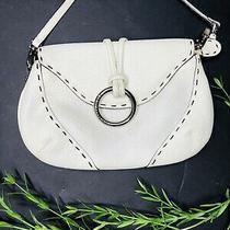 Bcbg Maxazria  White/ivory Pebbled Leather Small Clutch Wristlet Purse Bag Photo