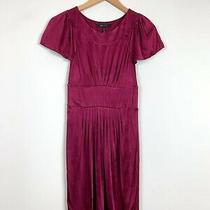 Bcbg Maxazria Wine Red Purple Short Sleeve Satin Party Dress Size X-Small Xs Photo