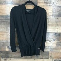 Bcbg Maxazria Women's Black Crossover Drape Front Hooded Layering Sweater Top Photo