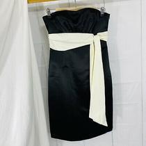 Bcbg Maxazria Womens Sz 4 Dress Black Satin Sash Tie Strapless G Photo