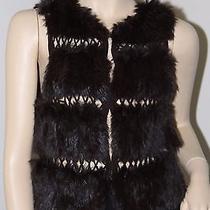 Bcbg Maxazria Women's Wool Rabbit Fur Vest Size Xs Photo