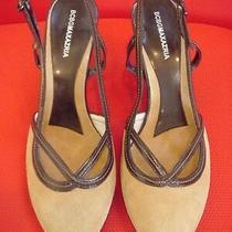 Bcbg Maxazria Womens 8 B 38.5 Tan Suede & Patent Leather Slingback Heels Pumps Photo